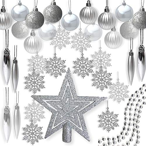 BANBERRY DESIGNS Silver Christmas Decorations - Pack of 100 Assorted Silver Finished Christmas Ornaments - Silver Decorations - Trim-A-Tree Kit Christmas Tree Decoration Kit