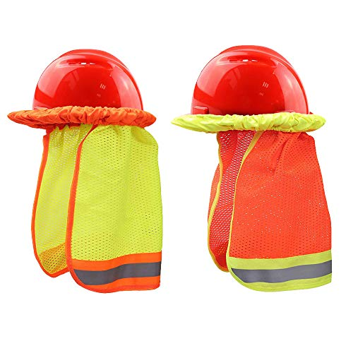 2pcs Summer Sun Shade Hard Hat Mesh Neck Shield with Safety High Visibility Reflective Stripe, Yellow, Orange(Hard Hat NOT Included) ()