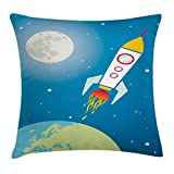 Lunarable Kids Throw Pillow Cushion Cover, Rocket Galaxy Astronaut Spaceship Shuttle Universe Travel Moon Stars Earth, Decorative Square Accent Pillow Case, 36 X 36 Inches, Blue Apple Green Grey