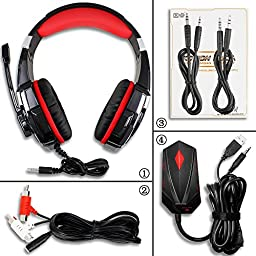 KOTION EACH GS900 XBOX 360 PS3 PS4 PC Gaming Headset AFUNTA Over Ear New Xbox One Headphone for Computer Laptop Laptop Smartphones With Mic-Black/Red