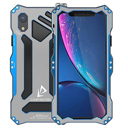 - iPhone XR Case, 6.1 Inch LIGHTDESIRE Shock Absorption, Protective Lens, Tough Armor Aluminum Metal Bumper Military Cover with Rope Strap - Arctic Silver Blue
