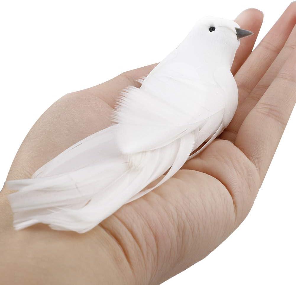 Takefuns Mini Oiseaux artificiels en Mousse avec Plumes doiseau Sapin de No/ël D/écoration de No/ël /à Clipser pour Mariage