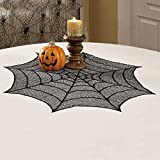 Gaosaili Halloween Lace Tablecloth Black Jack-o-lanterns Spider Web Party Table Decoration 30''