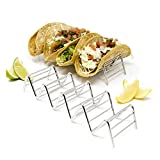 2 Pack - Stylish Stainless Steel Taco Holder Stand, Taco Truck Tray Style, Rack Holds Up to 4-5 Tacos Each, Oven Safe for Baking, Dishwasher and Grill Safe by Alpha Living