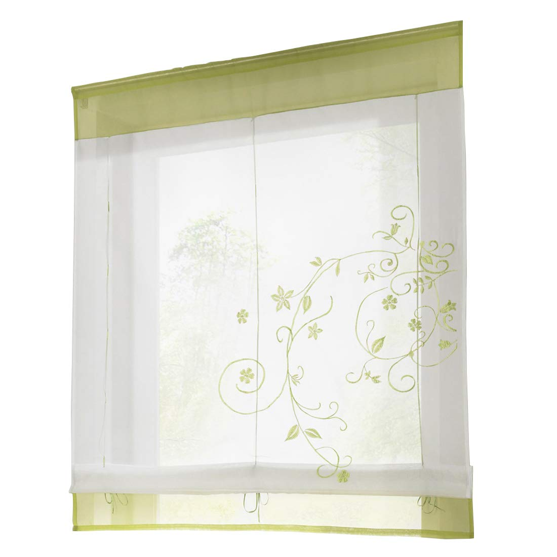 Yuena Care Roman Curtain Sheer Embroidered Blinds Lifting Window Shade Green S Beautylife88