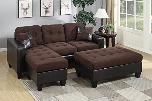 Poundex Reversible Sectional Sofa Set with Ottoman (Chocolate with Espresso Faux Leather (Chocolate Sectional)