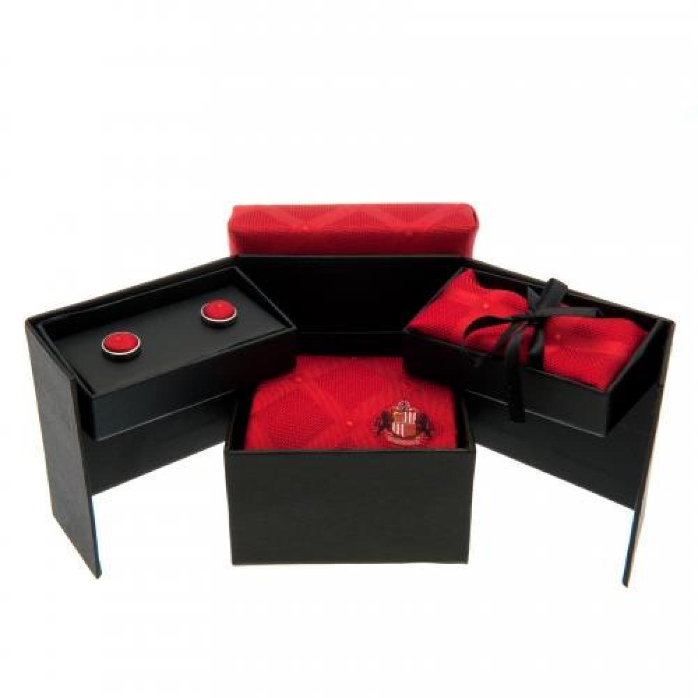 Birthday Gift Idea For Men And Boys A Great Christmas Sunderland AFC Official Football Gift Tie Cufflink /& Handkerchief Set