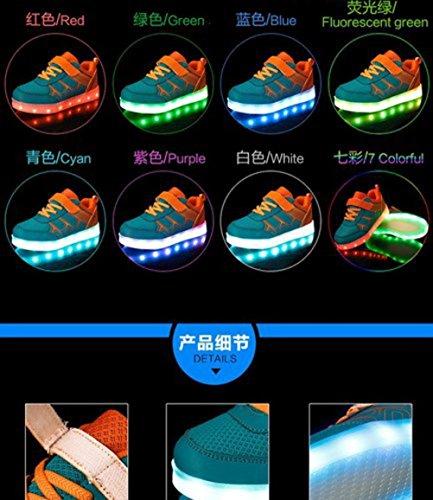 [Present:kleines Handtuch]JUNGLEST® 7 Farbe LED Leuchtend Aufladen USB Kinderschuhe Paare Schuhe Herbst und Winter Sport schuhe Freizeitschuhe Leucht lauf Orange