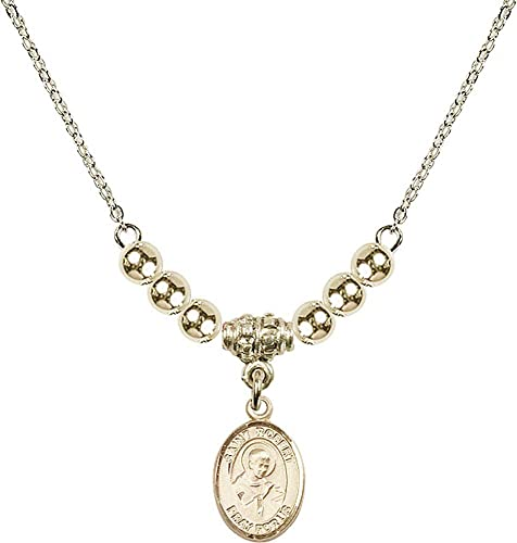 18-Inch Hamilton Gold Plated Necklace with 4mm Faux-Pearl Beads and Gold Filled Saint Joseph Charm.