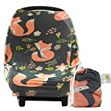 infant car seat cover patterns - Baby Car Seat Cover Canopy and Nursing Cover | Breathable, Stretchy, Universal Fit | Multi-use 5-in-1 | Unisex Woodland Fox Pattern