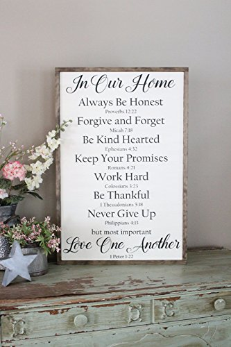 Bible Family Rules Farmhouse Sign