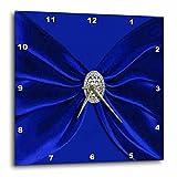 3dRose Royal Blue Velvet Sash with Round Diamond Jewel Look Wall Clock, 10 x 10''