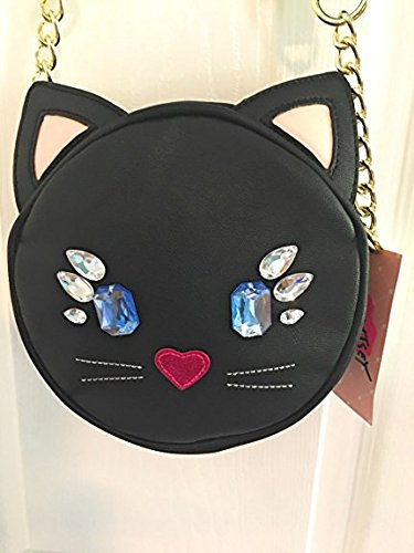 Betsey Jeweled Black Cat LUV Body Face Handbag Cross 0t0Wd