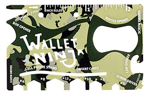 Wallet Ninja 18-in-1 Multi-purpose Credit Card Size Pocket Tool (Camo) ()