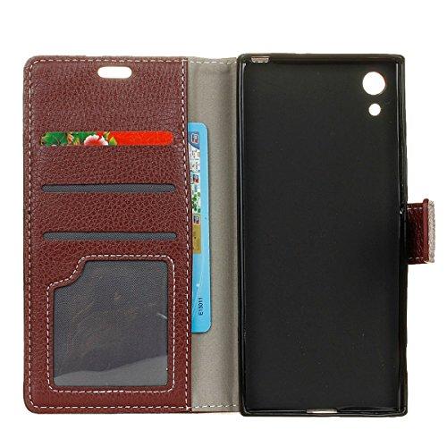 Funda Sony Xperia XA1 [Happon] Ranuras para Tarjetas y Billetera Carcasa PU Libro de Cuero Flip Leather Cierre Magnético Soporte Plegable para Sony Xperia XA1 (Plata) Marrón