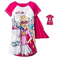 Girls Barbie Superhero Nightgown with Cape & Doll's Gown, Kids Sizes 4-12