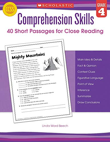 Comprehension Skills: Short Passages for Close Reading: Grade 4 ()