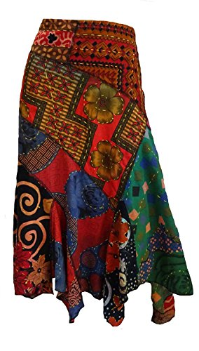 Sacred Threads Hand Stitch colorful Asymmetrical Lagenlook Skirt (Flat Front Linen Skirt)