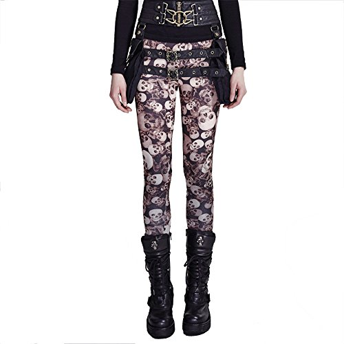 Punk Gothic Skull Leggings Pants Women Sexy Tights Pants Stretchy Elastic Trousers (XL, (Glitter Skull Tights)