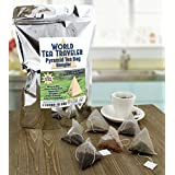 World Tea Traveler Sampler, 6 Kinds of Pyramid Tea Bags w Loose Leaf Teas: Moroccan Mint, Chinese Sencha Green, Masala Chai, Sri Lankan, S. African Rooibos, & Indian Darjeeling Black (60 pyramid bags)