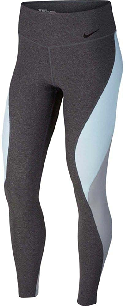 0effffeb0b69b NIKE Women`s Power Legend Colorblock Tights (Carbon  Heather(904470-071)/Water Blue, X-Large) at Amazon Women's Clothing store:
