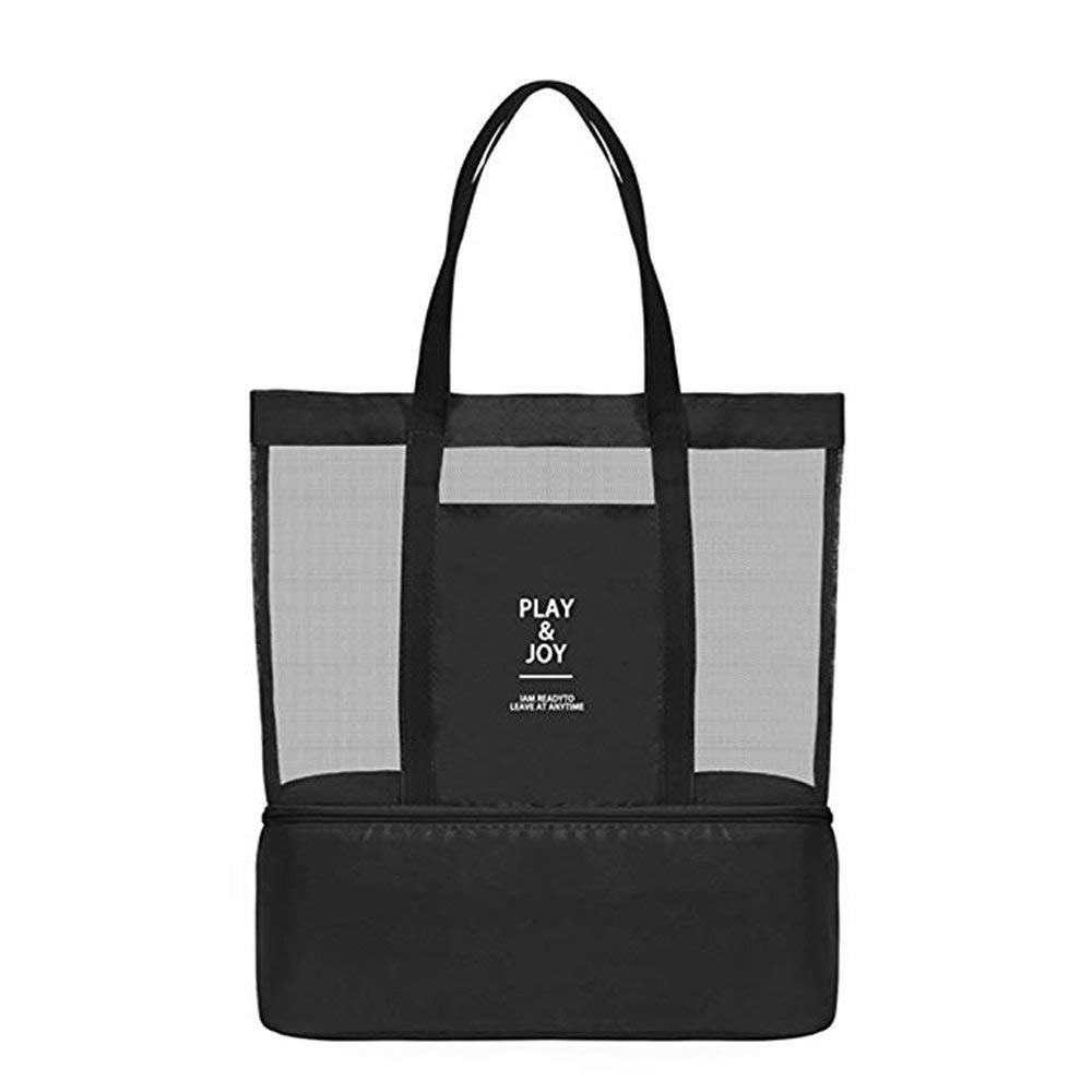 Mesh Beach Bag with Insulated Cooler,Waterproof Tote Bags for Beach Pool Picnic Gym (Black)