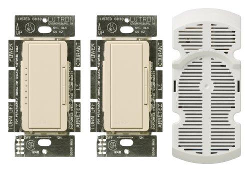 Multi Location Fan Control (Lutron MA-FQ3-LA 300-Watt Maestro Dimmer and Fan Control Multi-Location Kit, Light Almond)