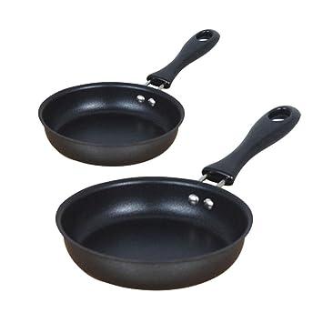 Mini sartén de 12 cm, recubierto de hierro puro DuPont, olla de artefacto para el desayuno, artefacto de huevo frito, parte inferior plana, ...
