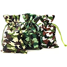 """Linen and Bags 4""""x6"""" Camouflage Print Natural Cotton Drawstring Bags for Party Favors, Crafts, and Keepsakes Multipurpose 25 Bag Pack (4x6, Jungle Camouflage)"""