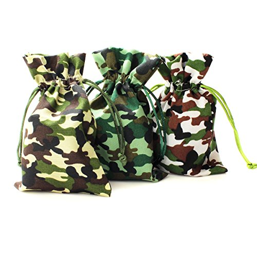 "Natural Jungle Print (Linen and Bags 4""x6"" Camouflage Print Natural Cotton Drawstring Bags for Party Favors, Crafts, and Keepsakes Multipurpose 25 Bag Pack (4x6, Jungle Camouflage))"