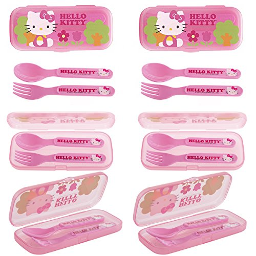 6 Pack Hello Kitty Plastic Flatware GoPak For Kids Reusable Fork & Spoon Lunch Silverware -
