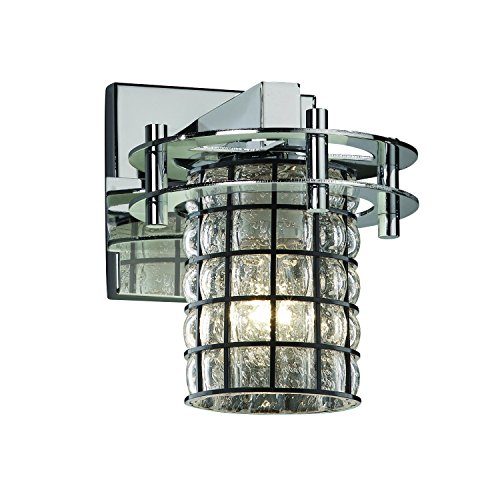 Justice Design Group Wire Glass 1-Light Wall Sconce - Polished Chrome Finish with Grid with Clear Bubbles Wire Cage w/Blown Glass Shade