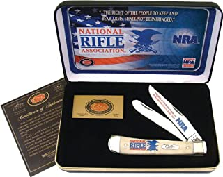 product image for Case Cutlery NRA-CATWSB Trapper Smooth Natural Bone Stainless Steel Blades Gift Tin
