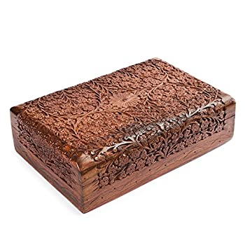 Rusticity Indian Traditional Handmade Wooden Jewelry Box/Intricate Carved Decorative Storage Organizer/Floral Design Sheesham Trinket Chest for Earring, Bracelet, Necklace & Ring, 10 x 6 in