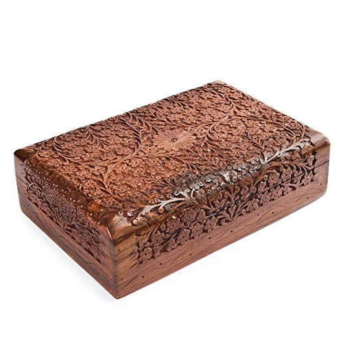 Rusticity Wooden Jewelry Box, Decorative Storage Organizer-Intricate Carved, 10 x 6 in ()