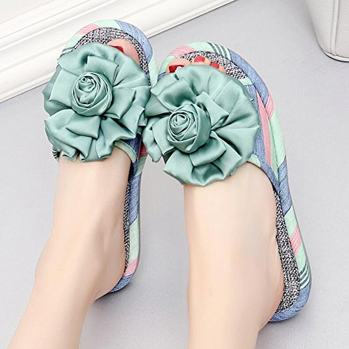 Chancletas Estilos Algodón Tamaños 5 Zapatillas Verano Decoración Colores Tamaño Azul Xiaopohe light De Color 6 4 Floral Sandalia Home Femenino A 39 Blue TINGTING Tejidos rrwq6za