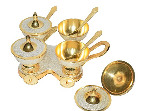 Trolley Bowl (Diwali Gift Antique Brass Gold and Silver Plated Pure Brass Engraved Premium Set of 4 Trolley Bowl Set and Spoons With Red Velvet Box .Modern and Traditional Home Decor Themes.Perfect Christmas Gift)