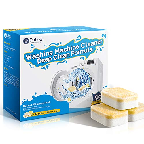 Dahoo Washing Machine Cleaner , 24 Tablets /16.92 Ounce – Deep Cleaning Formula Tablets for Front and Top Loader Washer…