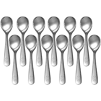CUH 12 Pcs Stainless Steel Spoons Demitasse Espresso Teaspoon Coffee Bistro Espresso Dessert Spoons