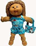 Blue Kitty Print Bathing Suit With Each Bag Fits Cabbage Patch Kid Dolls