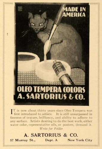 1919 Ad Oleo Tempera Colors Paint Tube Brush Cat Artist - Original Print Ad