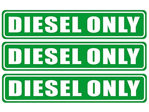 Outdoor/Indoor (3 Pack) 6.25 X 1.25 DIESEL ONLY Sign Label Sticker Decal For Fuel Gas Can Car Vehicle Tank - Back Self Adhesive Vinyl