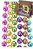 Mardi Gras, Neon 6-Color Disco Ball Beads, 7 mm, 33'', 60 Dozen (720pcs).