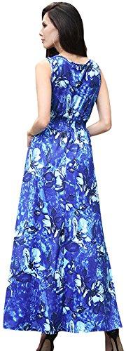 Jeansian Mujer Verano Sin Mangas Playa Holiday Largo Maxi Vestidos WHS464 Blue