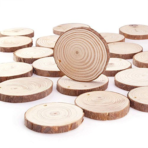 3.15-3.95 Natural Wood Slices 20 Pieces Predrilled with Hole,Unfinished Wooden Circles for Crafts & Arts with Tree Bark,Blank Log Slices DIY Rustic Wood Decor for Home Wedding Party Ornaments