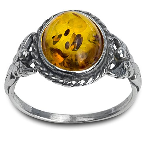 Honey Amber Sterling Silver Oval Small Ring, Sizes 5,6,7,8,9,10,11,12