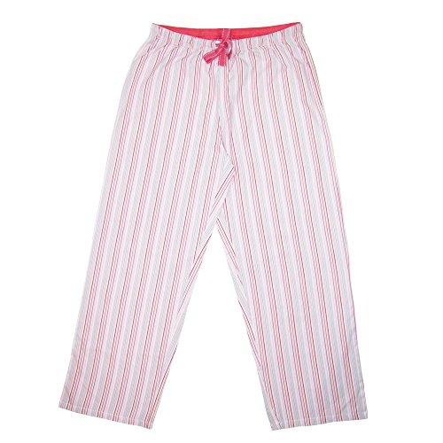 Hanes Women's Striped Cotton Pajama Lounge Pants, Medium, Tea Rose