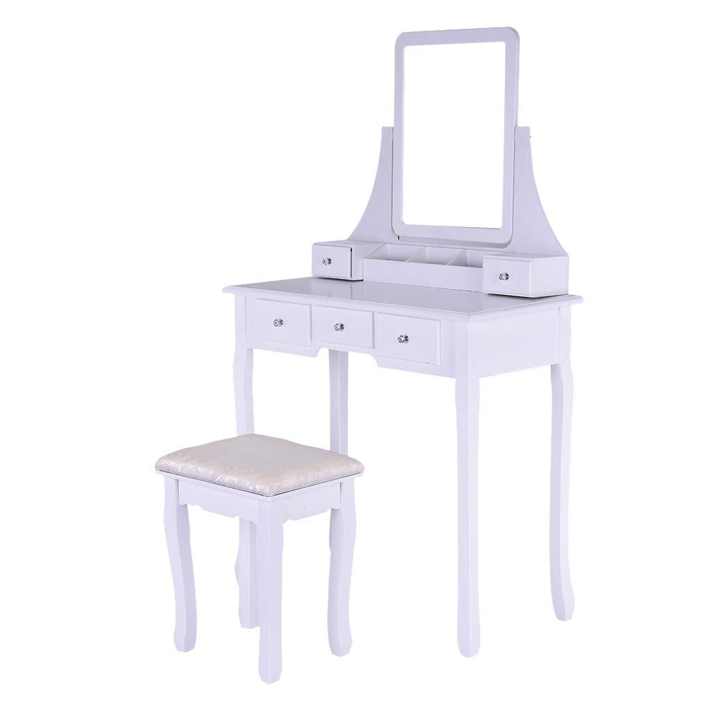 Vanity Set with Mirror, Jewelry Cabinet/Jewelry Armoire, Makeup Organizer, Cushioned Stool, 2 Sliding Drawers White Makeup