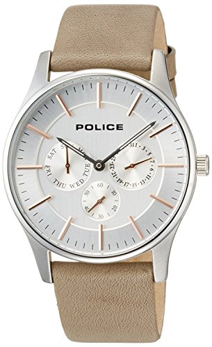 POLICE watch Courtesy Small seconds Day-Date leather band 14701JS-04 24000 COURTESY Men's [regular imported goods]