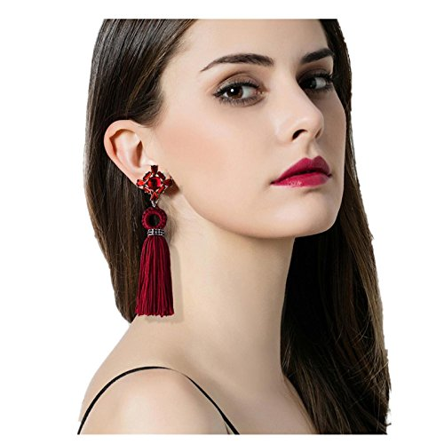 (Tassel Earrings, Challyhope Fashion Bohemian Fringe Drop Earrings Women Long Tassel Fringe Dangle Earrings Jewelry (Red, Alloy))